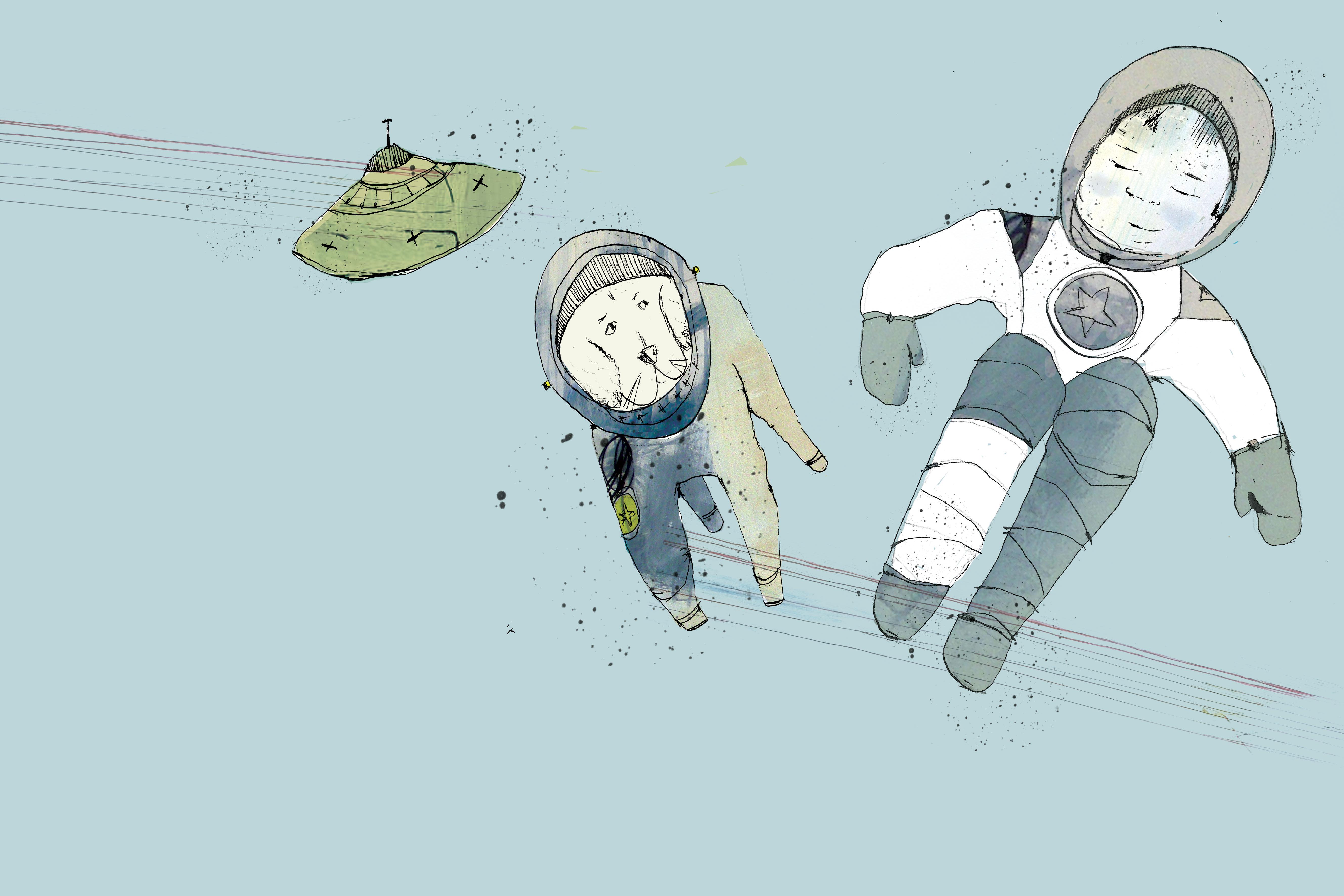 I kredsløb om jorden. Tegning af Tanja Eijgendaal til Jens Peter Madsens fortælling