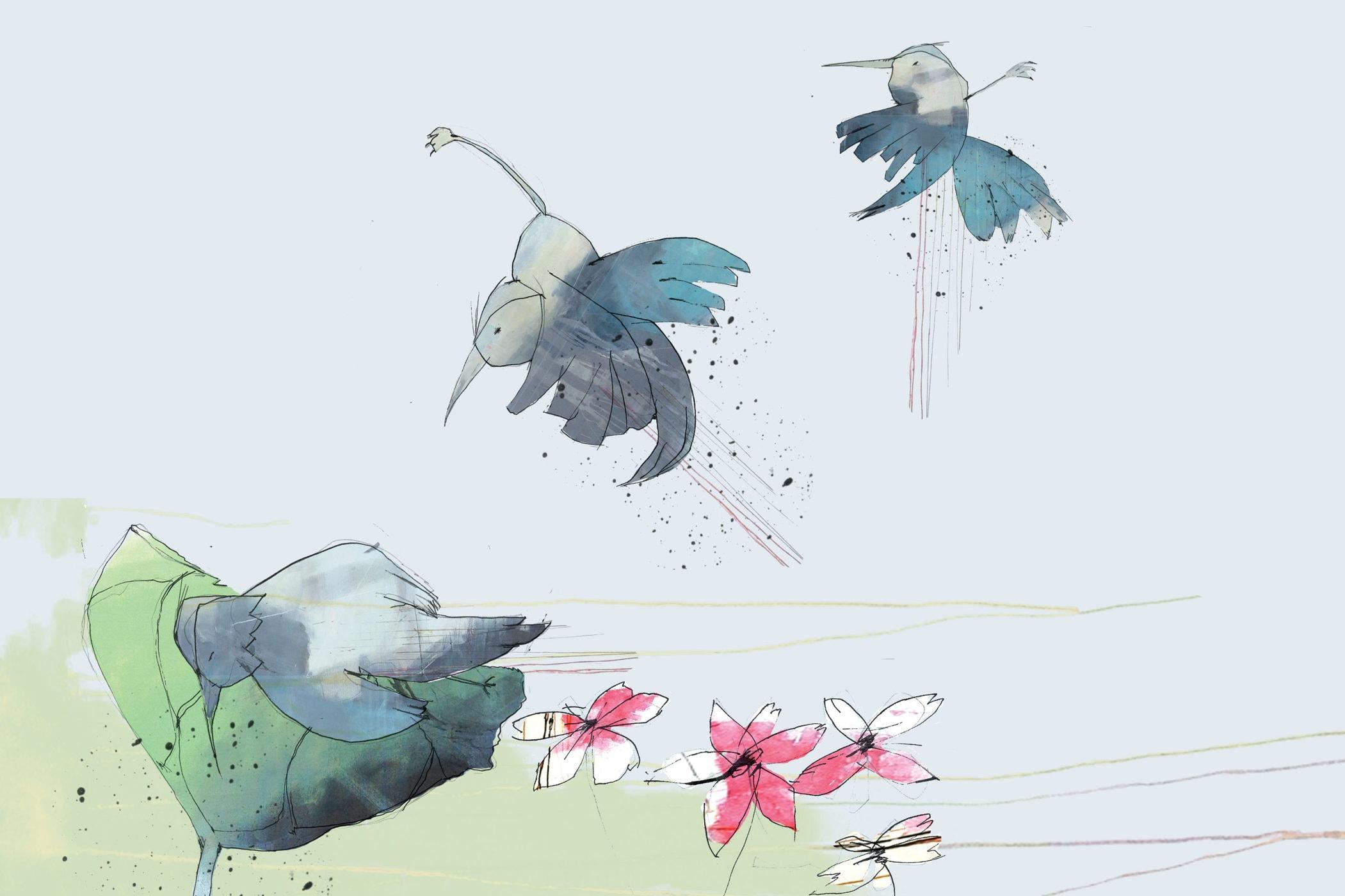 Lille fugl. Tegning af Tanja Eijgendaal til fortælling af Jens Peter Madsen