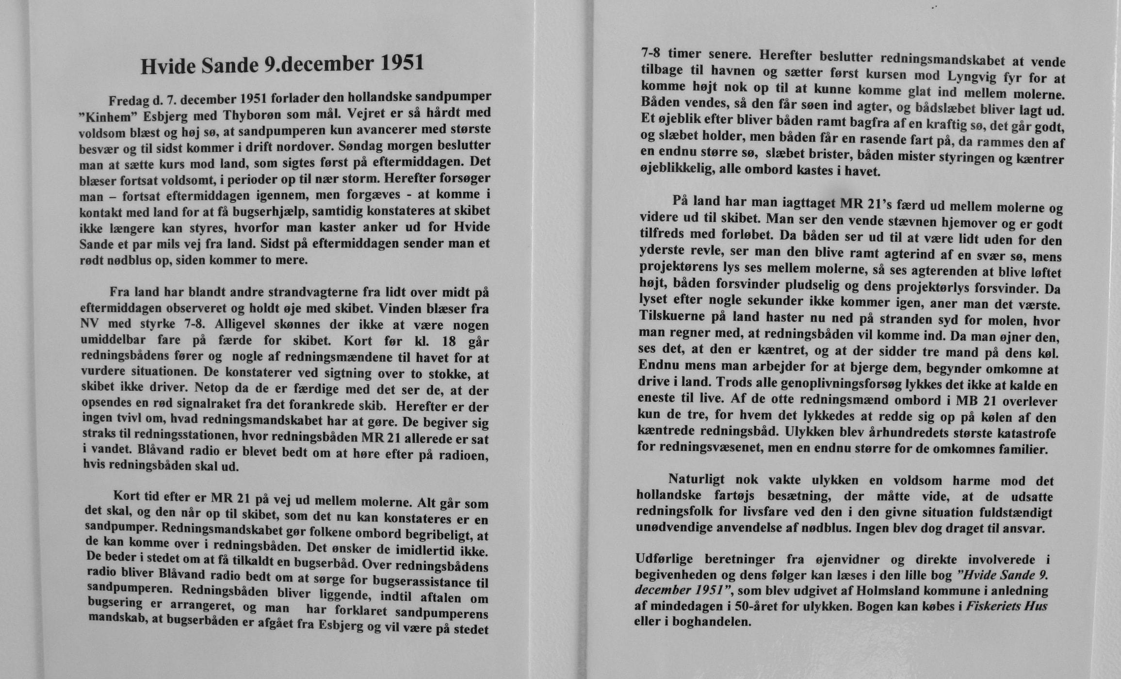 Forliset 9. december 1951. Tekst fra Redningsmuseet
