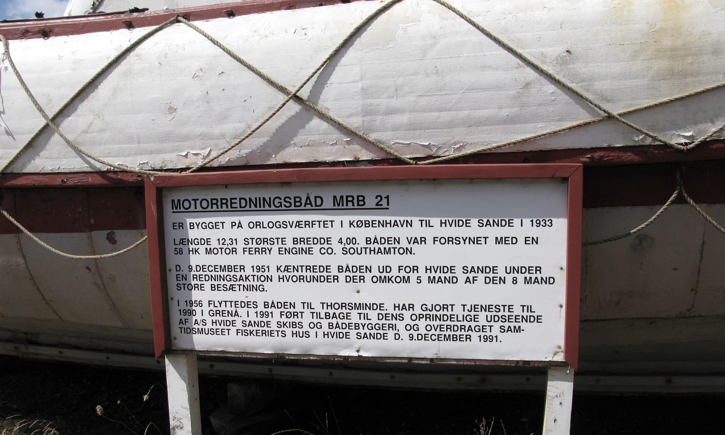 Motorredningsbåd MRB 21 fotograferet 2018 ved Redningsmuseet